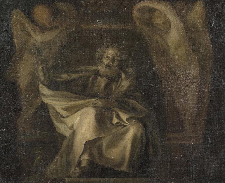 Ce bozzetto en grisaille, figurant saint Pierre, laisse transparaître le processus de création présidant à l'œuvre d'Anton Raphael Mengs,