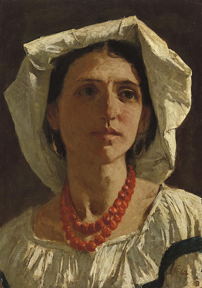 Il est vraisemblable que le modèle de cette vibrante étude sur toile soit Anna Risi, dite Nanna, illustre muse et maîtresse de son auteur,