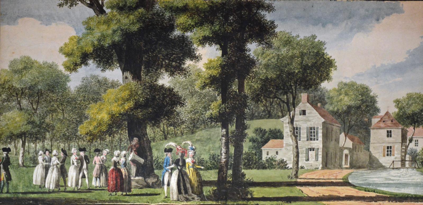 Louis Carrogis, dit Carmontelle (1717-1806), Paysage panoramique des campagnes de France, transparent, aquarelle et gouache, sur plusieurs