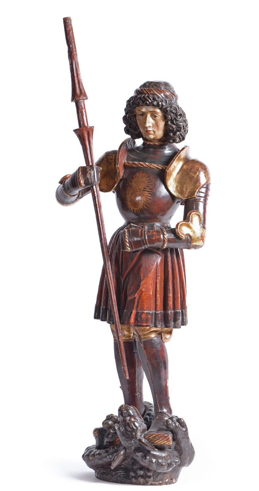 Entité primordiale dans la hiérarchie des saints, l'archange saint Michel est apparu sous la forme d'une sculpture en ronde bosse, en bois