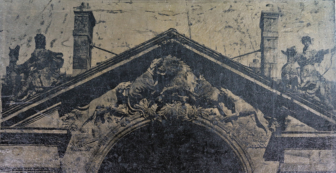Unidentified artist, Boar hunt on pediment, detail, pannotype, 34,5 x 27 cm.© Christophe Dubois-Rubio