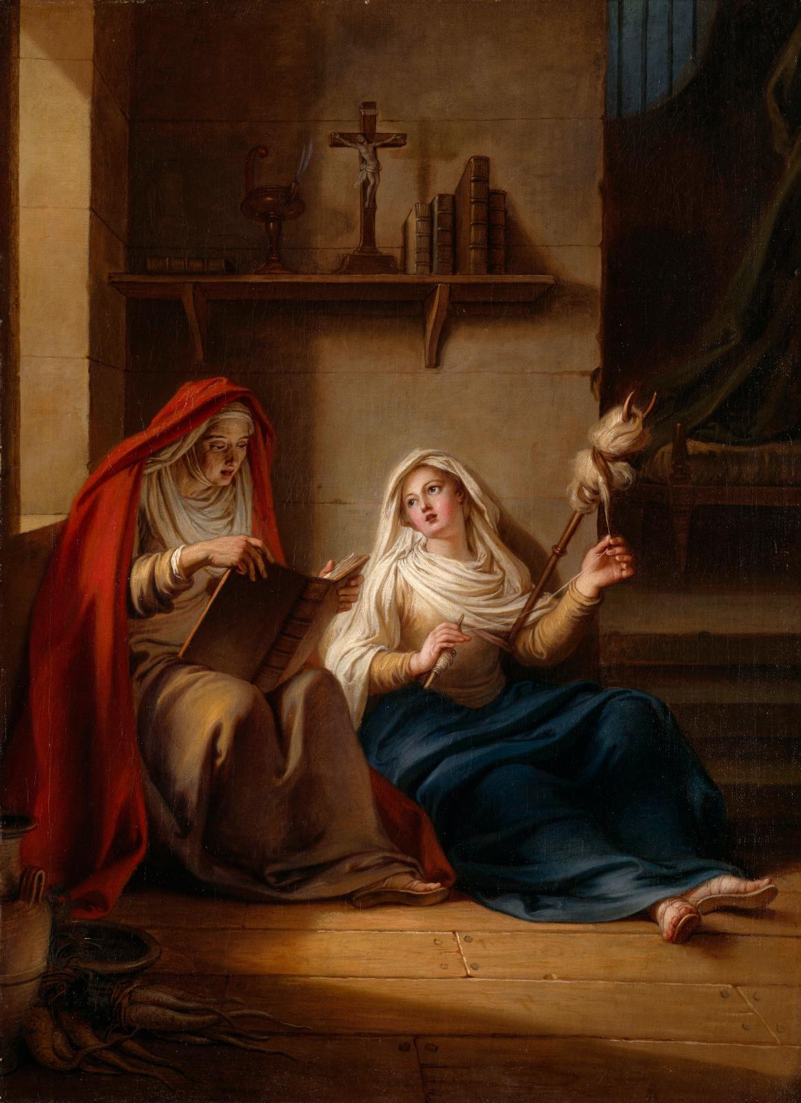 Sainte Piame et sa mère dans un village d'Égypte, 1747, huile sur toile, 106x77cm.