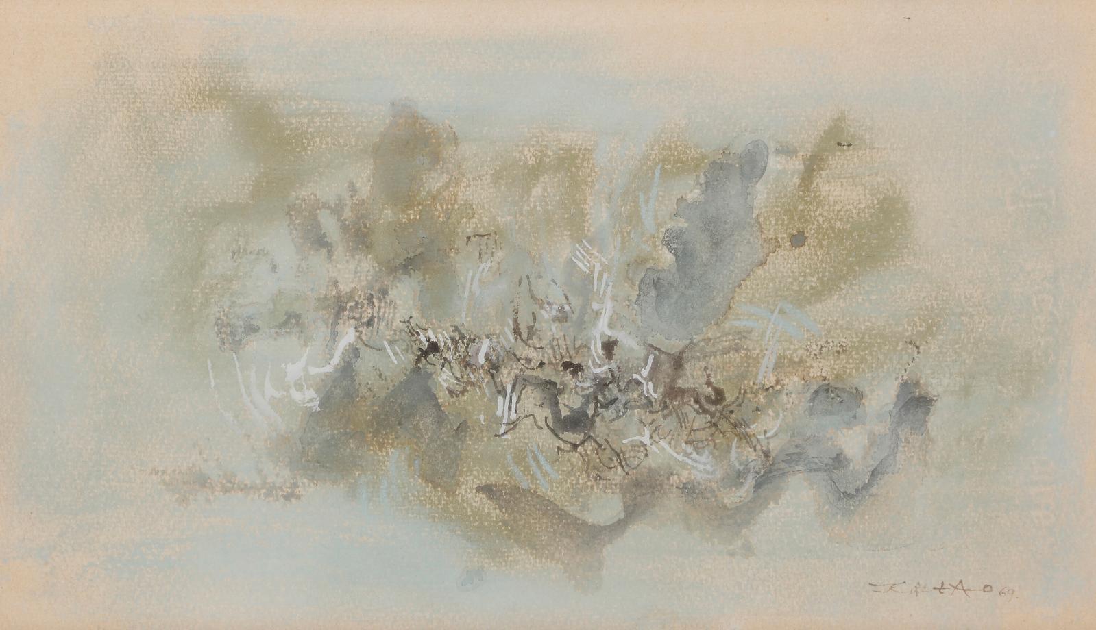 Zao Wou-ki (1920-2013), Composition, 1969, gouache et encre, 18x30,5cm. Estimation: 20000/30000 €
