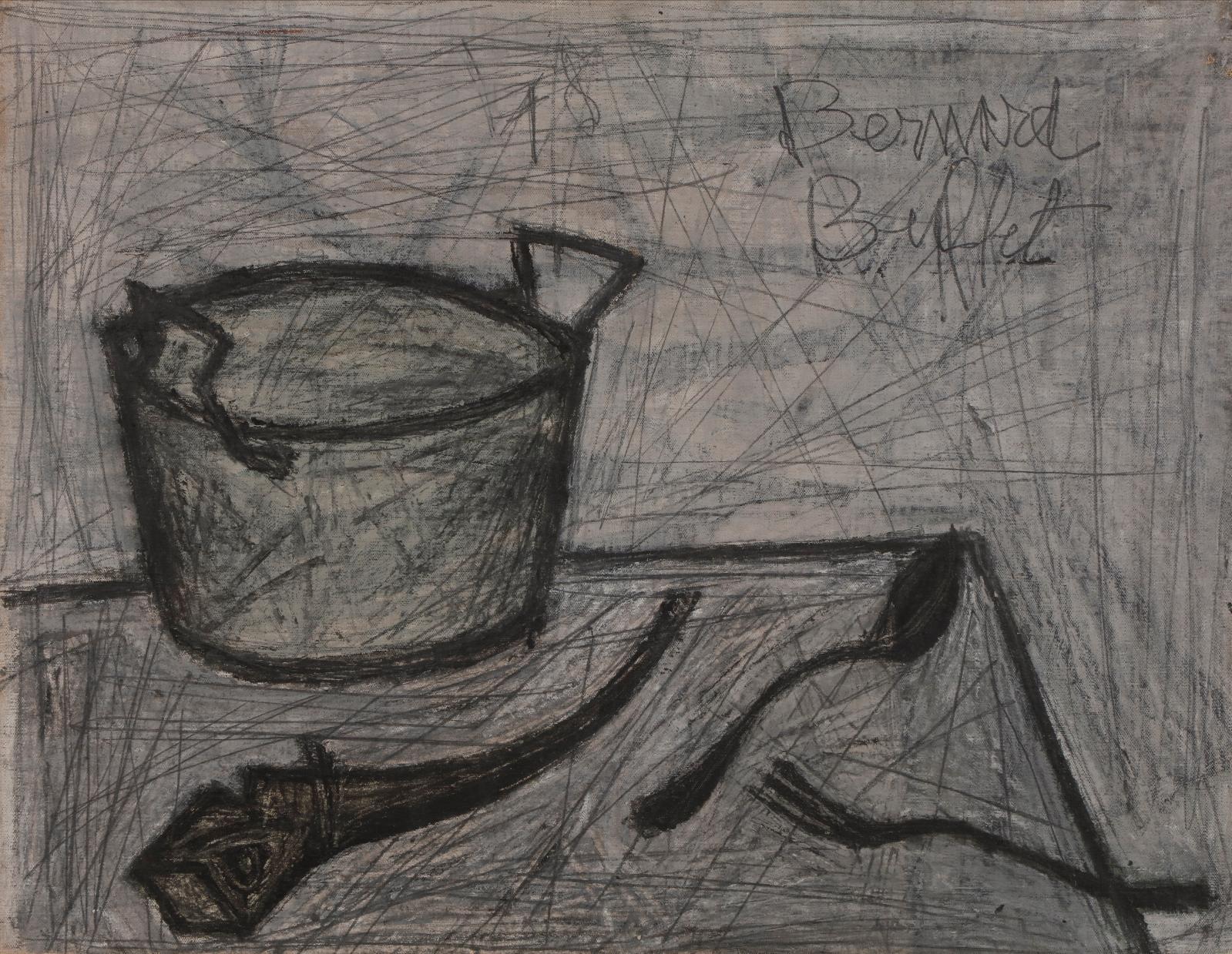 Bernard Buffet (1928-1999), Fait-tout, hareng saur et couverts, 1948, huile sur toile, 50x65cm. Estimation: 20000/30000€