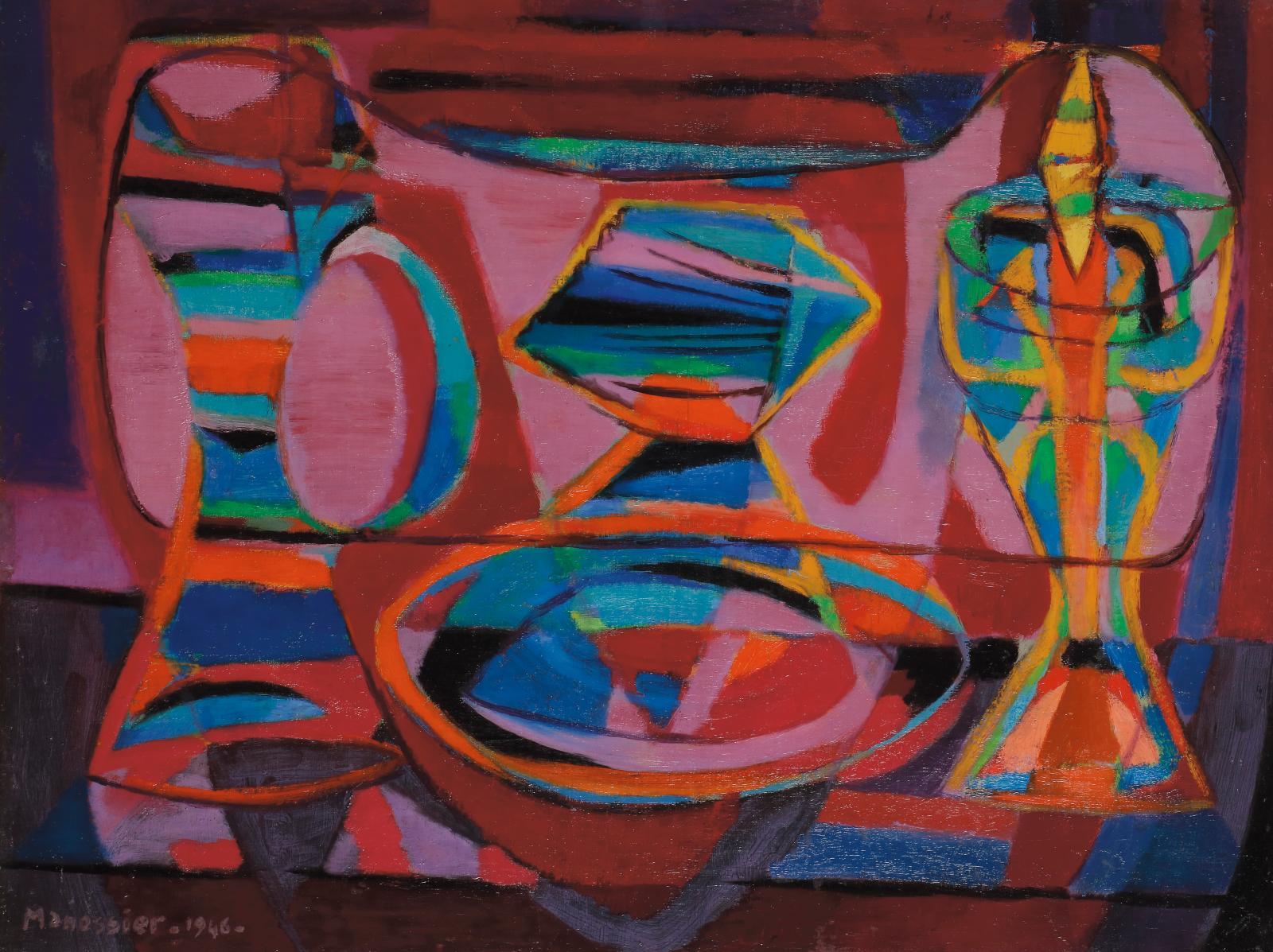 Alfred Manessier(1911-1993), Baptême, 1946, huile sur toile, 50x65cm. Estimation: 6000/8000 €