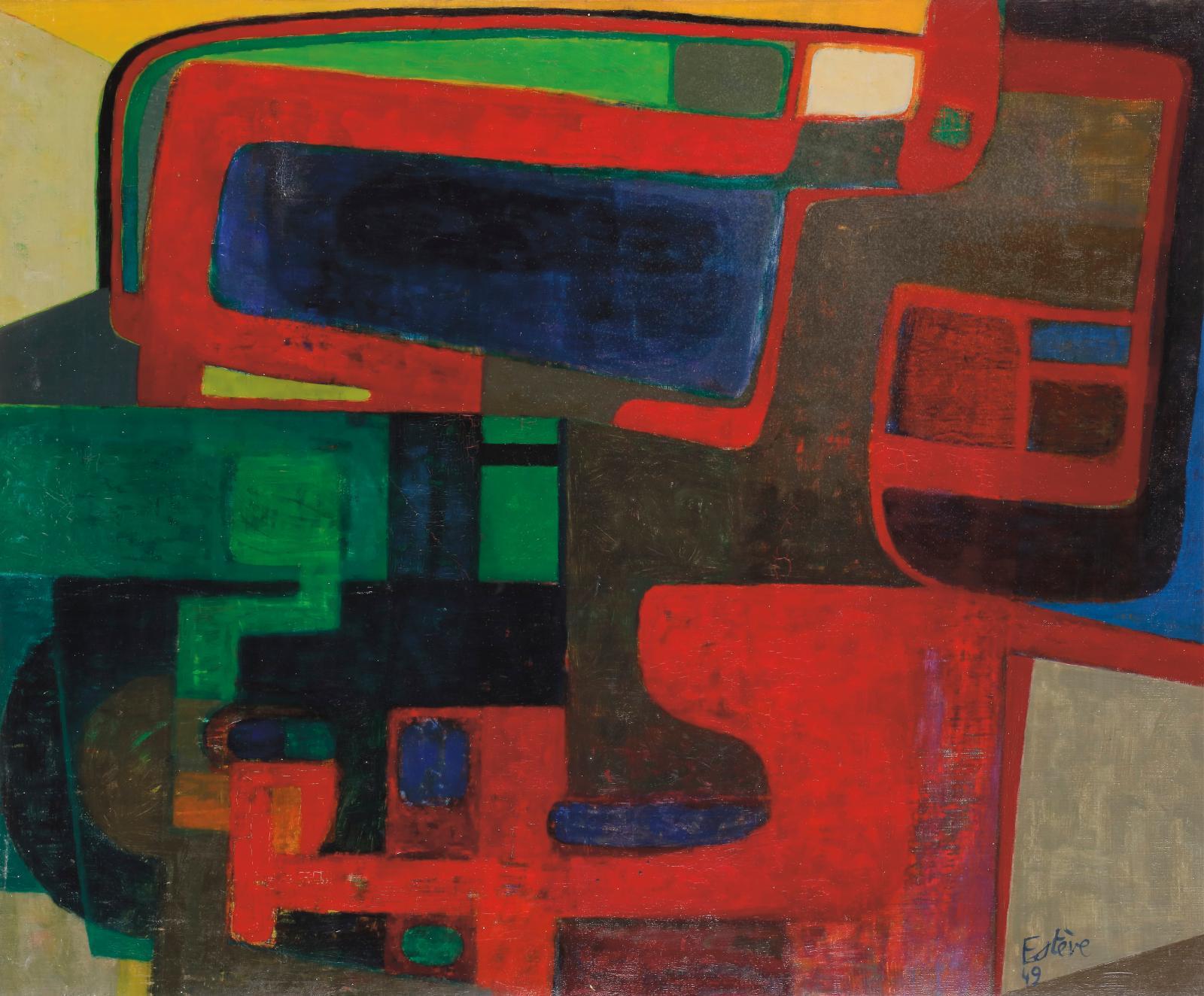 Maurice Estève (1904-2001), Mécanicien, 1949, huile sur toile, 50x61cm (détail). Estimation: 50000/80000 €