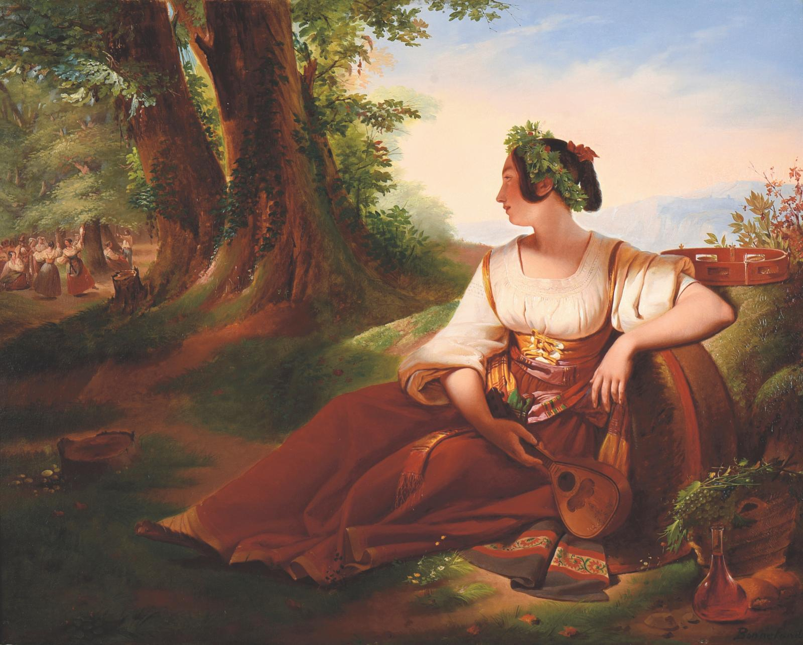 Claude Bonnefond (1796-1860), Waiting, oil on canvas, signed and titled 66 x 83 cm.Estimate: €7,000/10,000