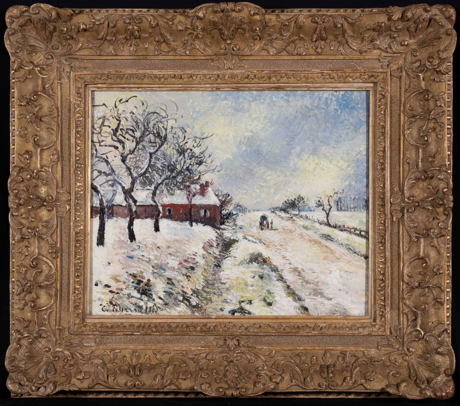 Camille Pissarro (1830-1903), Road and House under Snow, Éragny (1885).COURTESY OF STERN PISSARRO