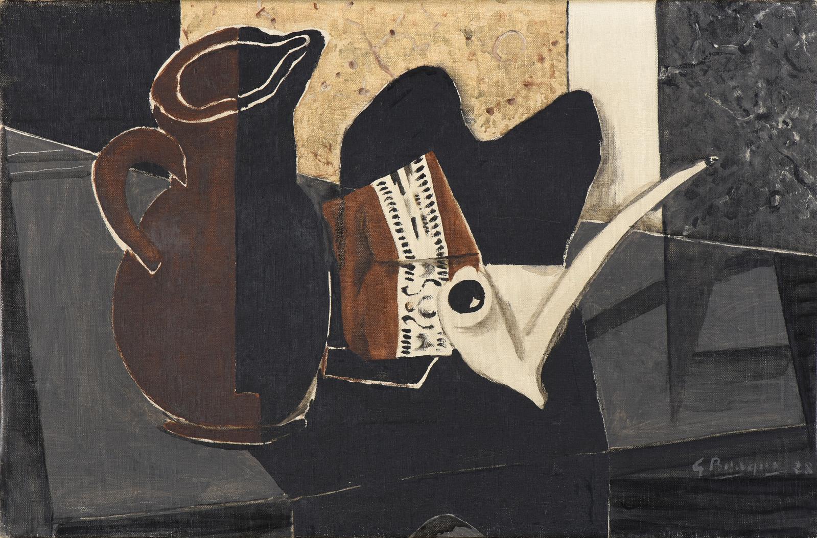 Georges Braque(1882-1963), Pichet, pipe, tabac, 1928, huile sur toile, signée et datée, 27x41cm (détail). Estimation: 180000/250000