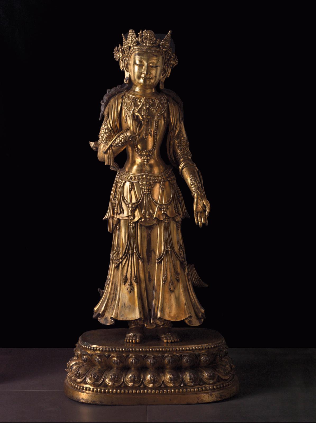 Boddhisattva, bronze doréde la dynastie Ming,règne de l'empereur Yongle (1360-1424). ©Paris Musées/Musée Cernuschi