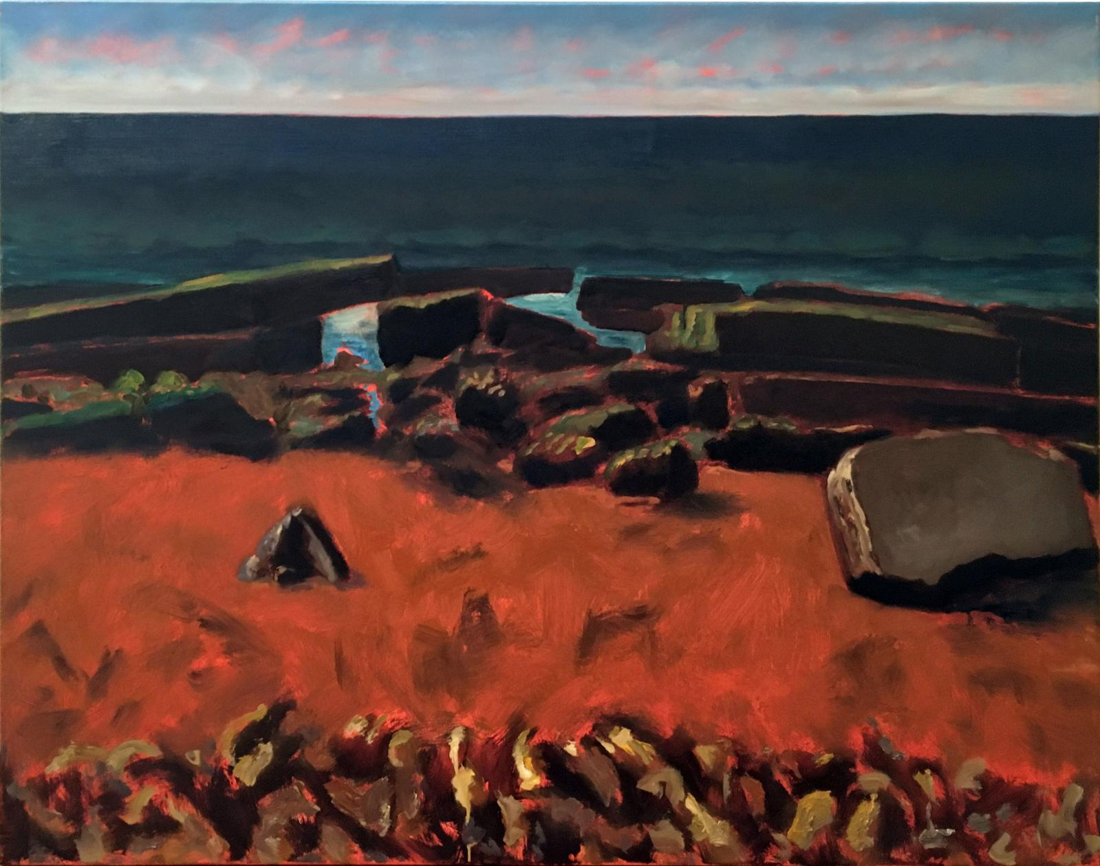 Guy de Malherbe (né en 1958), Vers la mer, 2017, huile sur toile, 81x100cm.