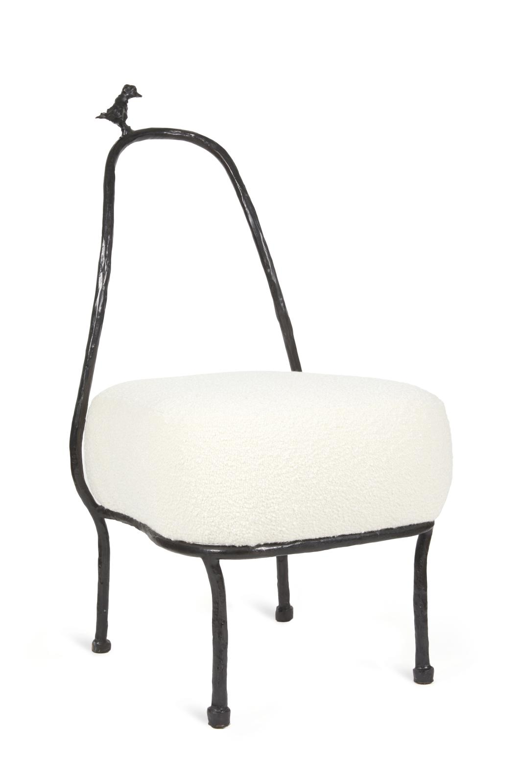 Eric Schmitt's Le Faucon maltais low chair, a new creation of which 30 copies were made.