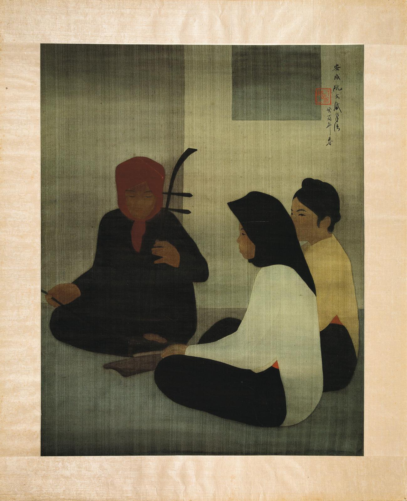 Le Vietnamien Nguyen Van Thinh (né en 1906) signe cette délicate peinture à l'encre de Chine et couleurs sur soie (84,5x67cm, 80000/12