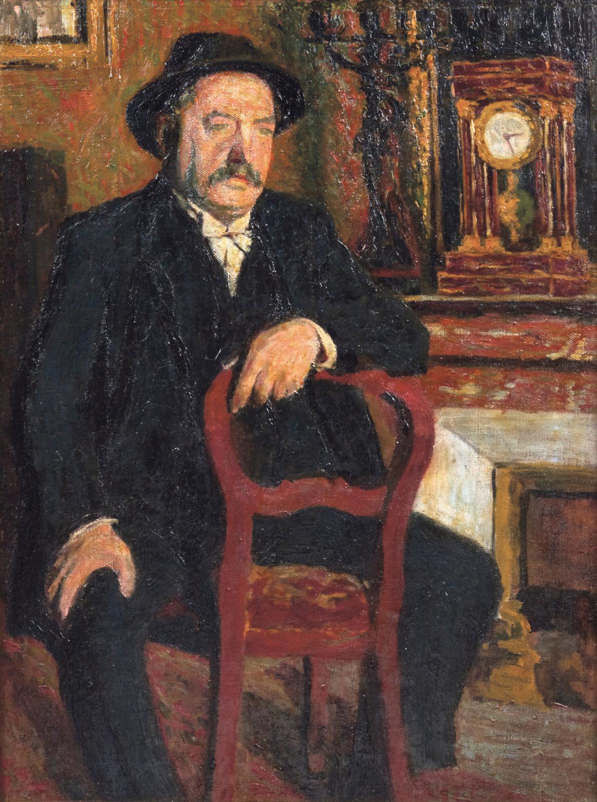 Fernand Léger (1881-1955), Portrait de Monsieur Ernest Blasini,1907, huile sur toile, signée «F.Léger»,80x60cm (détail). Adjugé: 63