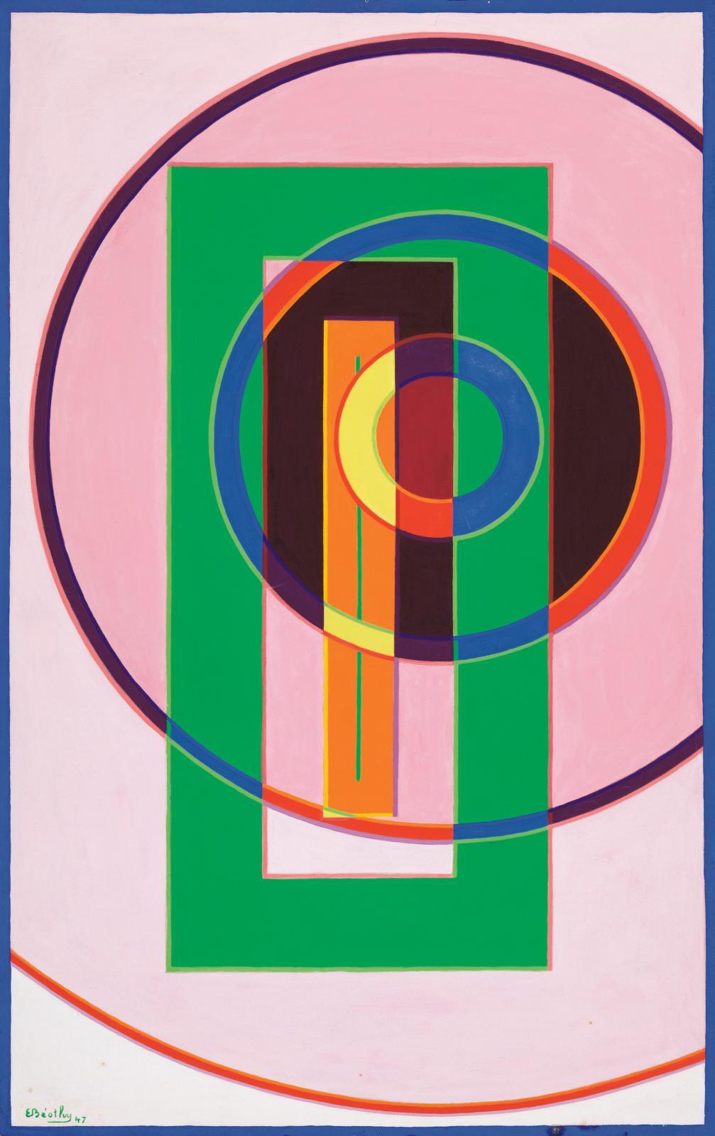Étienne Béothy, Composition, 1947, gouache sur papier, 65,8 x 41 cm, galerie Le Minotaure.
