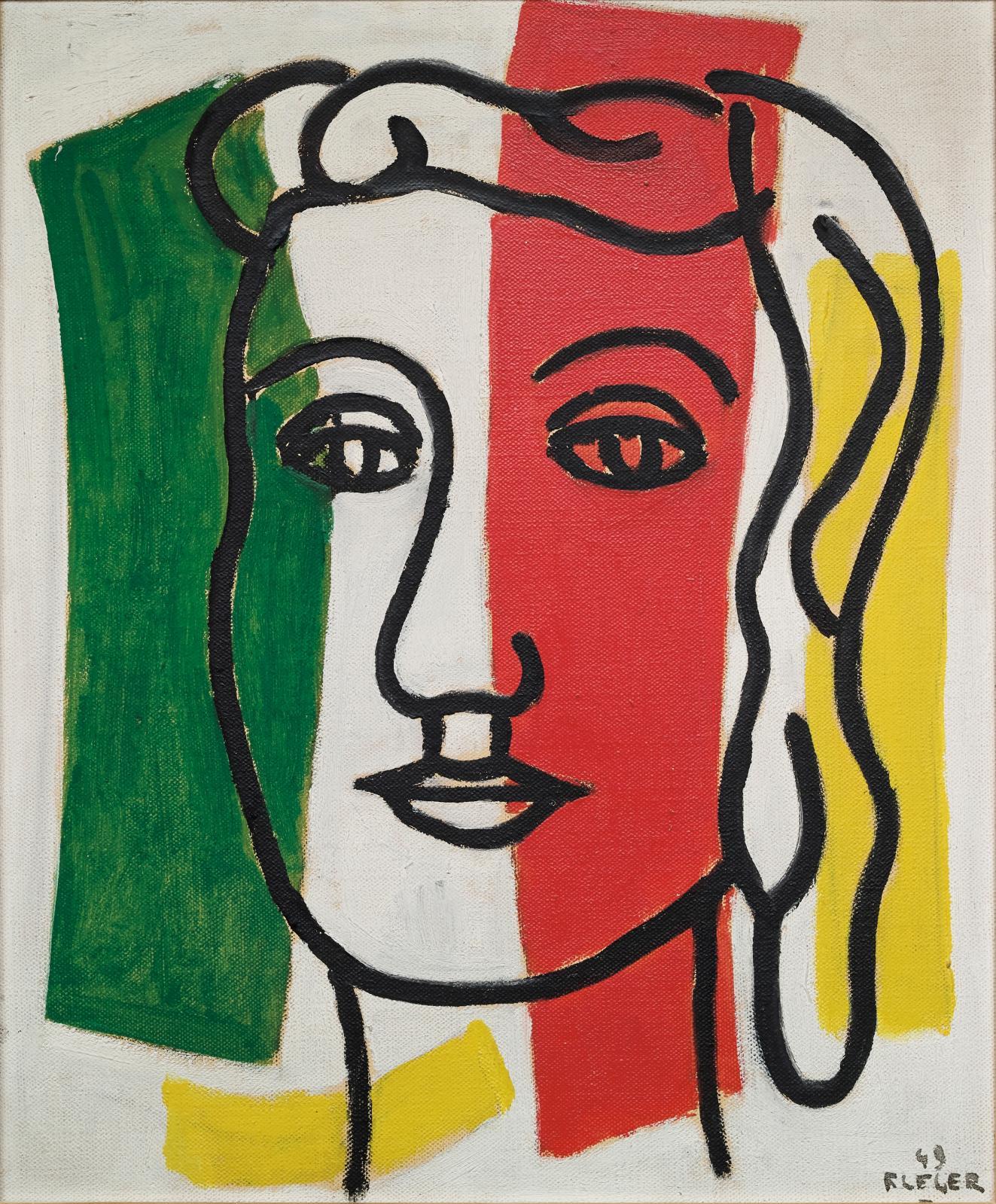 Fernand Léger (1881-1955), Portrait de Marguerite Lesbats (détail), 1949, huile sur toile, 46x38cm. Estimation: 200000/300000€