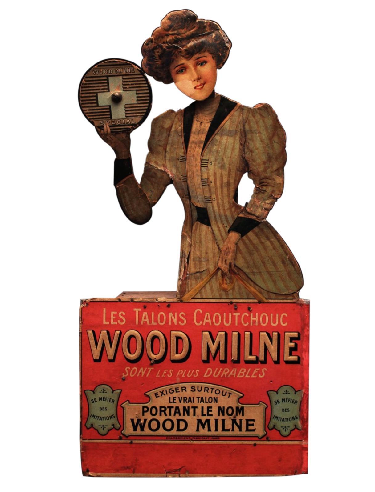 WOOD MILNE,Les talons caoutchoucImp. CHAMBRELENT, Paris, France, vers 1900Présentoir automate de vitrine en chromolithographie sur carton