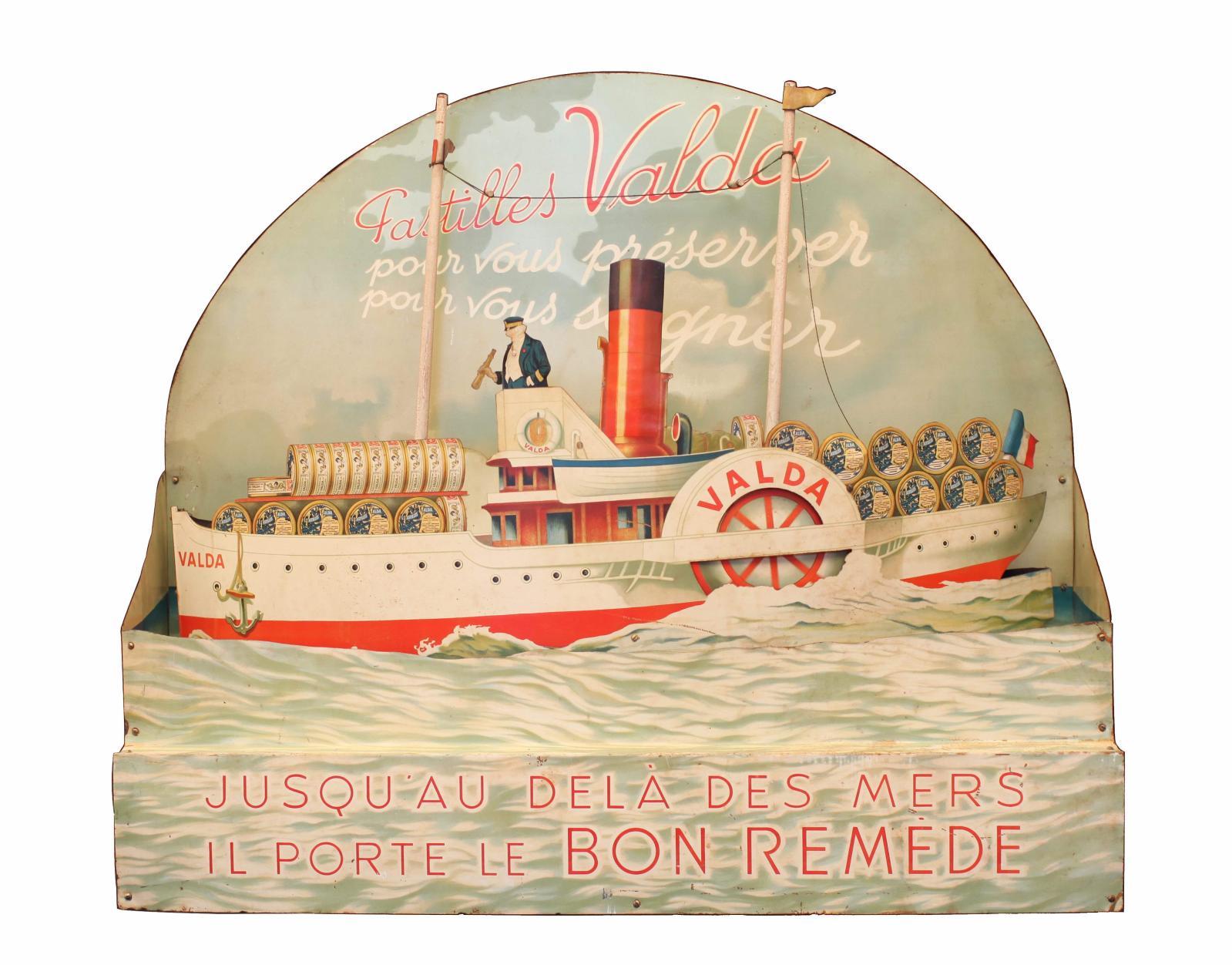 PASTILLES VALDA, Pour vous préserver, pour vous soigner, jusqu'au delà des mers, il porte le bon remède. Scène du bateau à roue.Automate C