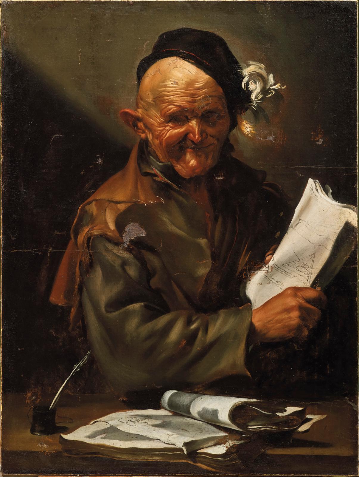 Jusepe de Ribera(1591-1652), Un philosophe: l'heureux géomètre, huile sur toile, 100x75,5cm. Adjugé: 1820000€