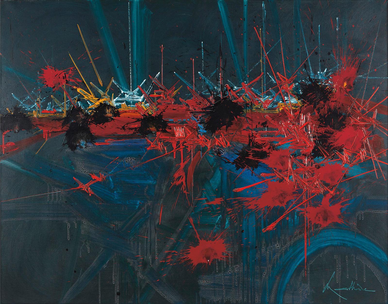 Georges Mathieu (1921-2012), Nuits sans fond, huile sur toile signée et titrée sur le châssis, 113,5x146cm. Adjugé: 73080€