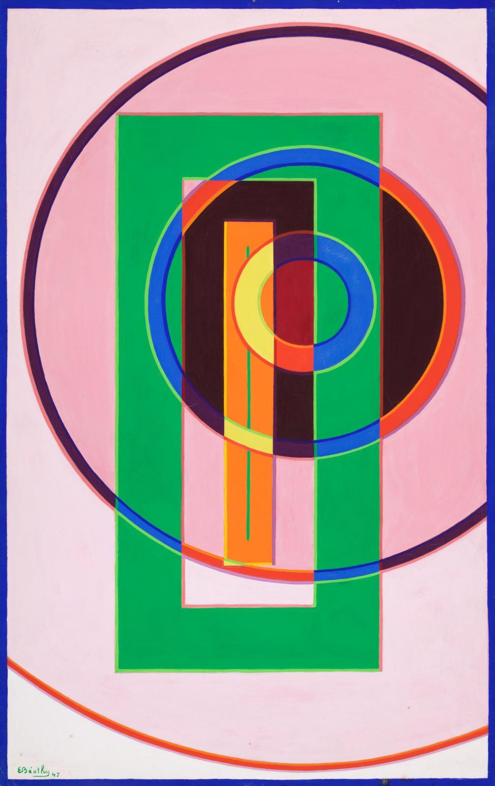 Étienne Béothy, Composition, 1947, gouache on paper, 65,8 x 41 cm, galerie Le Minotaure.COURTESY GALERIE LE MINOTAURE