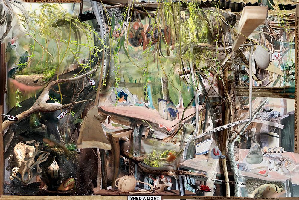 Prouvost, Grand mas Laboratory, 2020, tapestry, thread, 290 x 433.5 cm, édition de trois, galerie Nathalie Obadia.© LAURE PROUVOST, COURTE