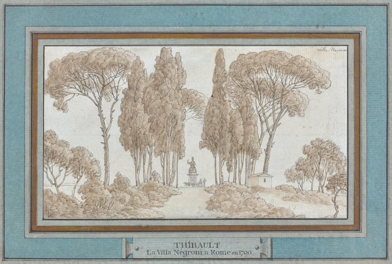 Jean-Thomas Thibault (1757-1826), La Villa Negroni à Rome,1790, plume et encre noire et grise, lavis brun, 9x16cm.Paris, Drouot, 31 m