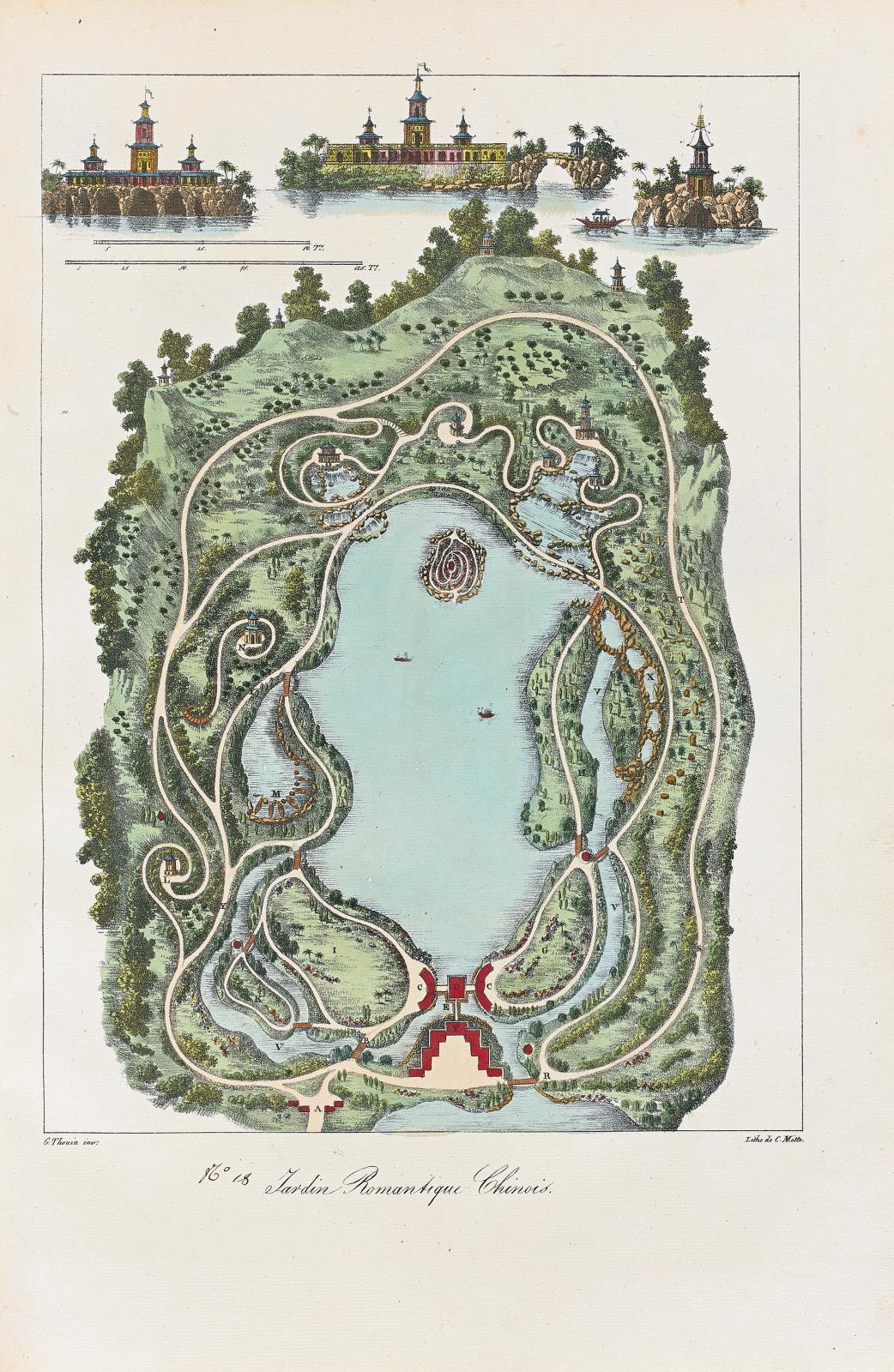 Gabriel Thouin (1747-1829), Plans raisonnés de toutes les espèces de jardins,Paris, chez madame Huzard, 1828, in-folio, illustré de 59 pla