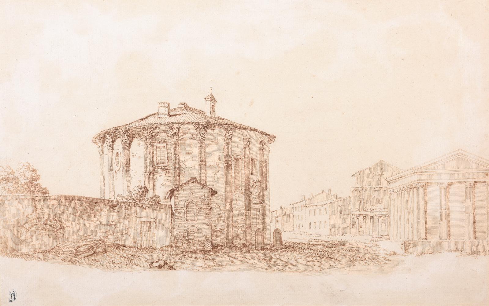 Hubert Robert (1733-1808), Le Jardin Caprarola animé, 1764, sanguine, 32,5x44,5cm.Paris, Drouot, 20 novembre 2019.De Baecque OVV. M.A