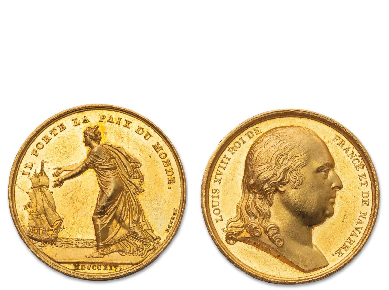 Un tel retour valait bien une médaille… en or qui plus est! Le dimanche 24 avril 1814, à Calais, en début d'après-midi LouisXVIII débarq