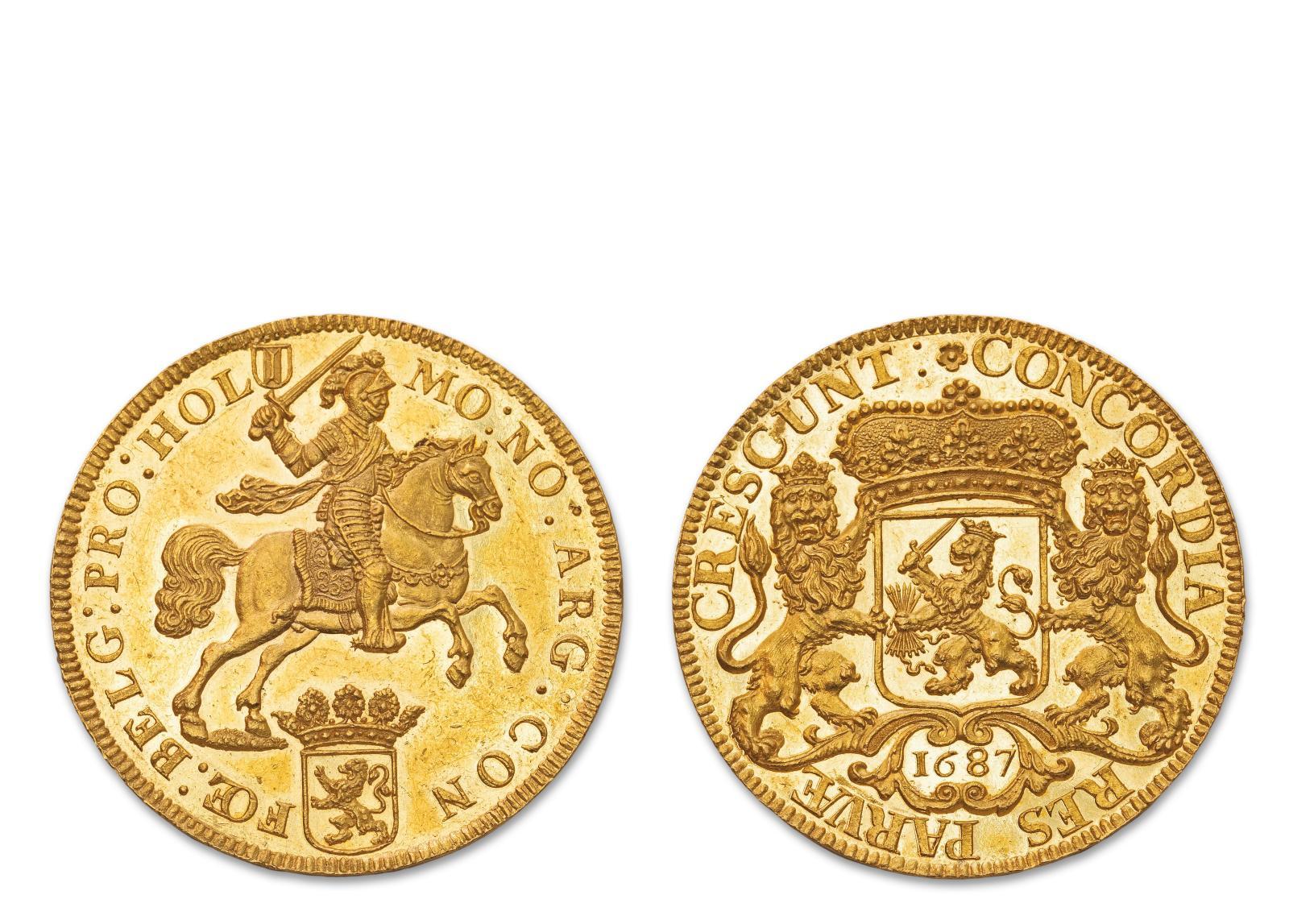 Pas moins de 30000/40000€ sont espérés de cette pièce de dix ducats d'or (34,51g) ciselée d'un cavalier chargeant, sabre au clair, et