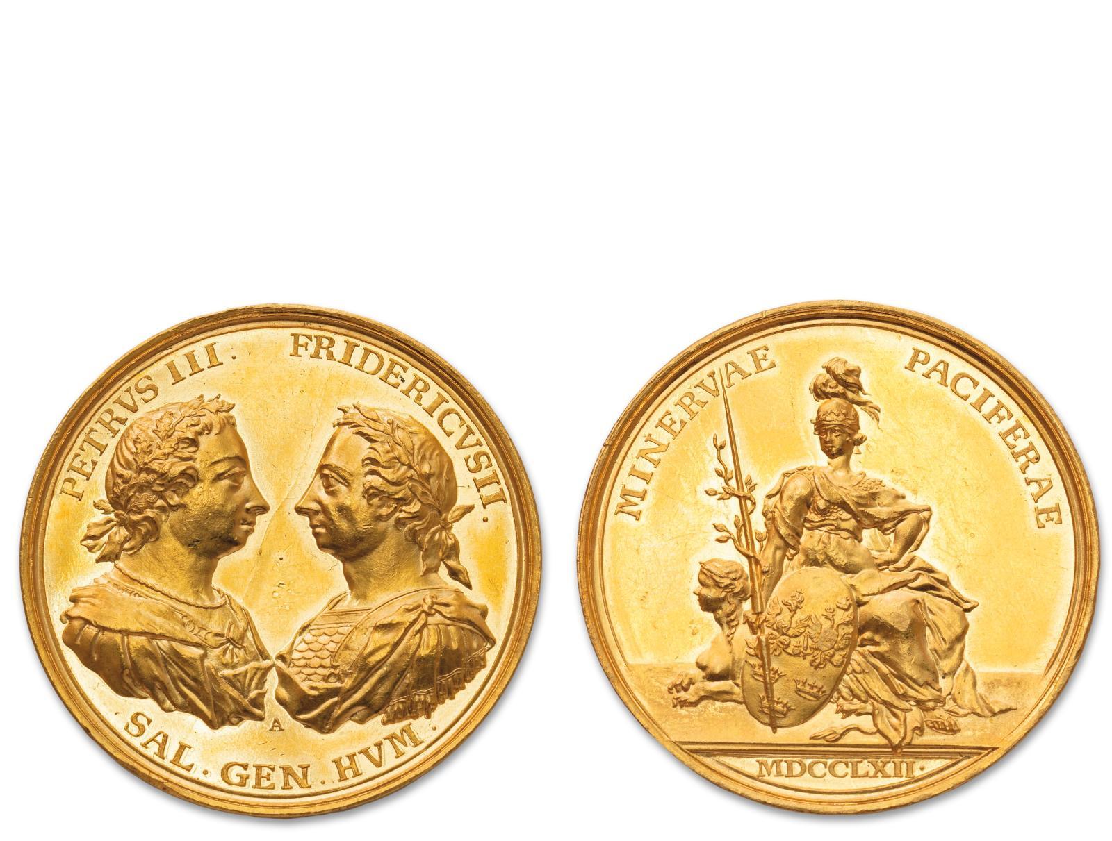 Cette médaille en or (51,21g) célèbre la fin des hostilités entre la Russie et la Prusse. Le 5 mai 1762, quatre mois après la mort de la