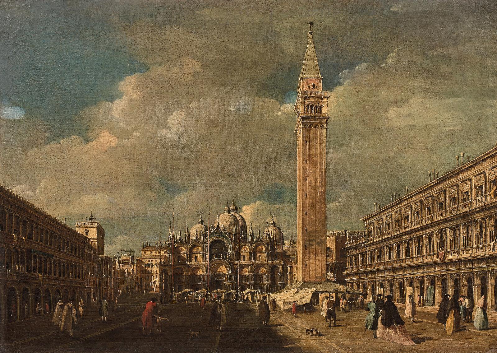 Attribué à Giacomo Guardi (1764-1835), Venise, la place Saint-Marc, huile sur toile, 45x63,5cm. Adjugé: 169000€