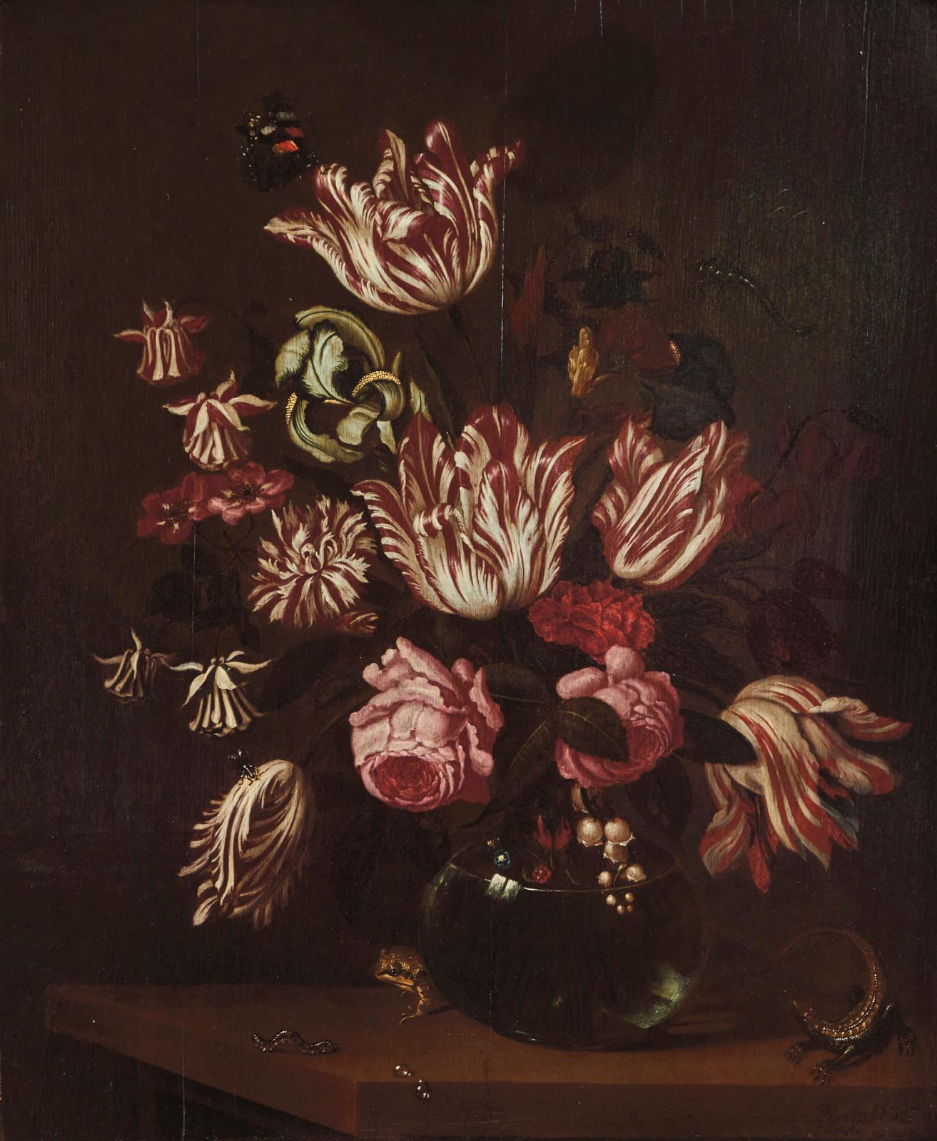 Bartholomeus Assteyn(1607-1667) a peint ce Bouquet de fleurs dans un vase sur un entablement avec lézard, chenille et grenouille (54x44