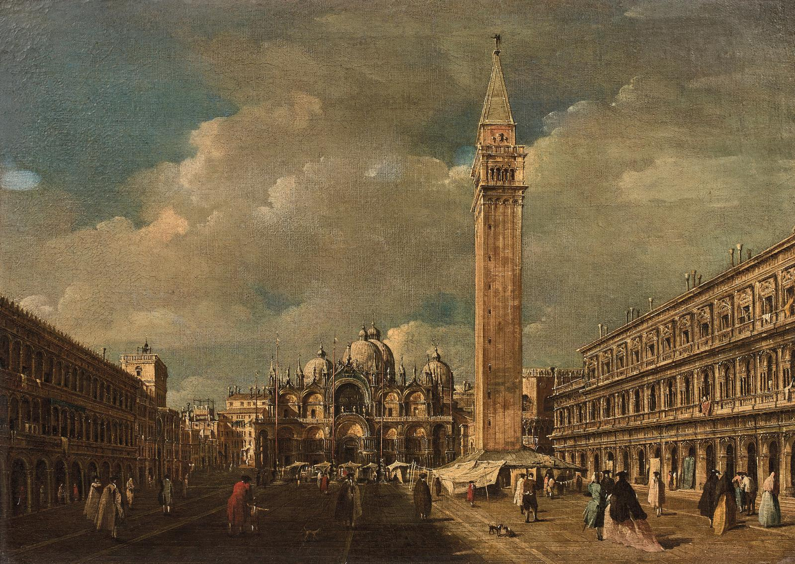 Attributed to Giacomo Guardi (1764-1835), Venice, Saint Mark's Square, oil on canvas, 45 x 63.5 cm.Result: €169,000