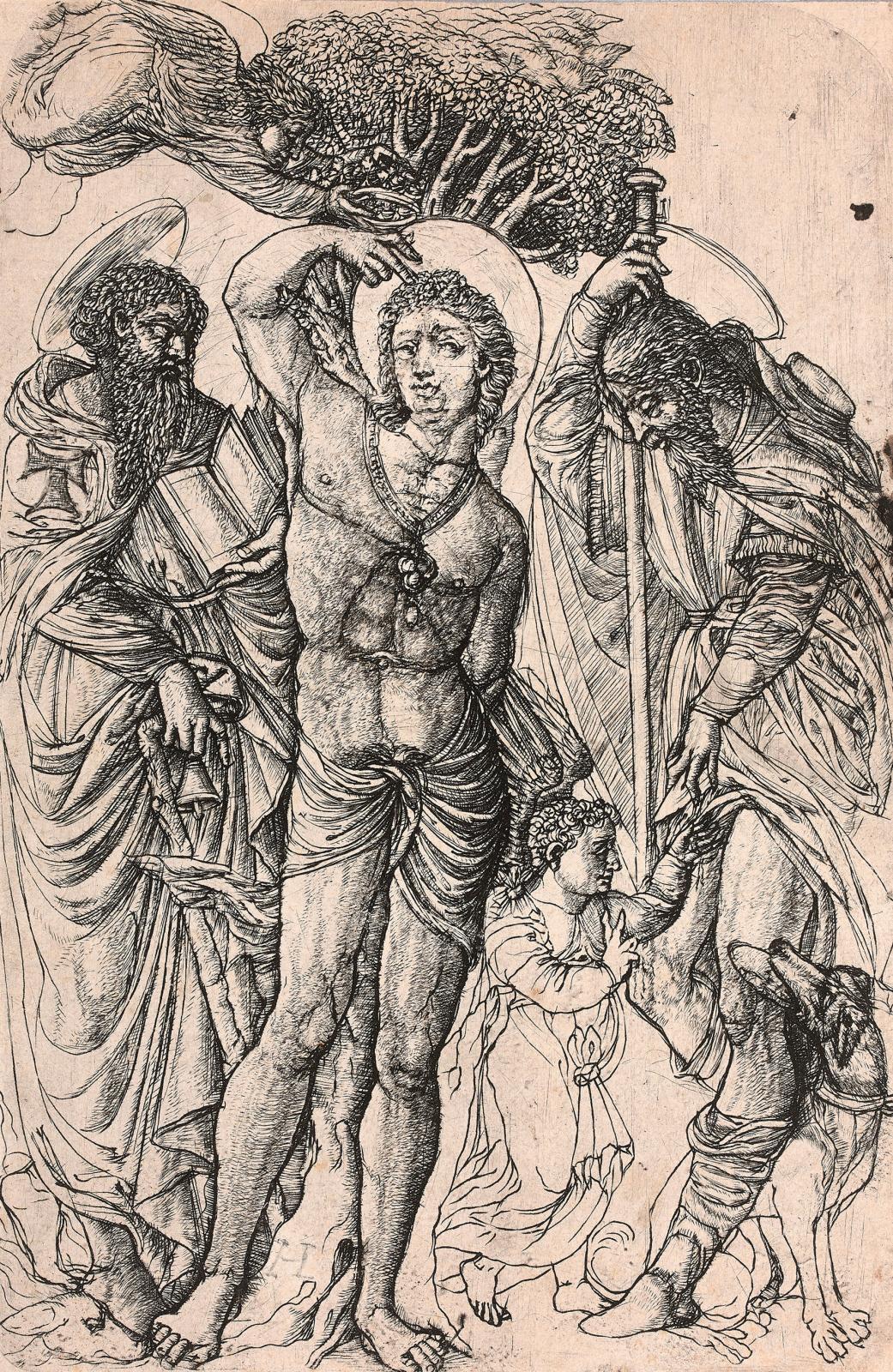 "Jean Duvet de langres (1485-1561), aka ""The Master of the Unicorn"", ""Saint Sebastian between Saint Anthony, the first hermit, and Saint Ro"