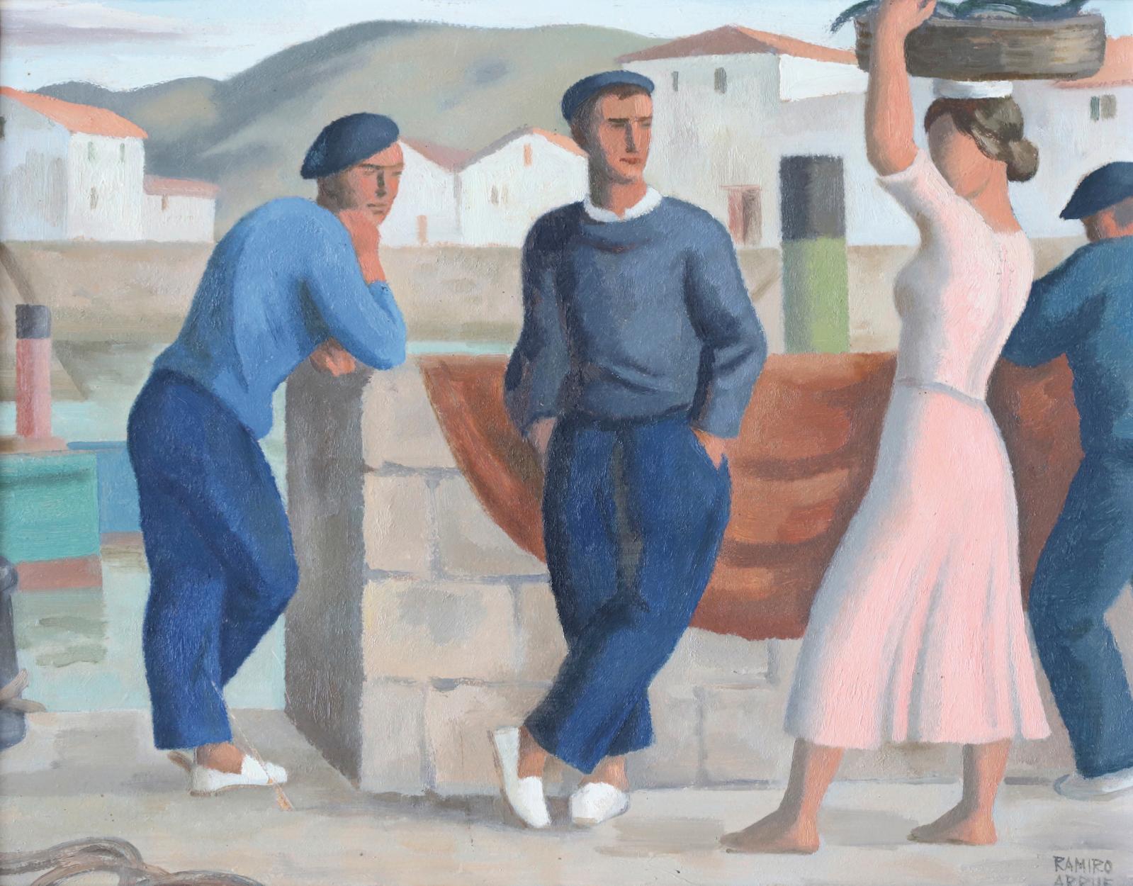 Ramiro Arrue (1892-1971), Marins et kaskarote, huile sur panneau signée en bas à droite, 36x46cm. Estimation: 20000/30000€