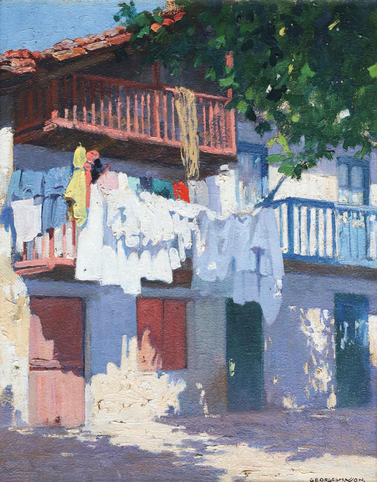 Georges Masson (1875-1948), Pays basque, façades ensoleillées, huile sur toile signée en bas à droite, 41x32,8cm. Estimation: 3000/4