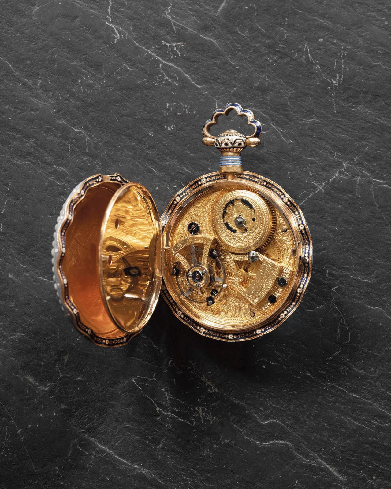 Williem Ilbery (1760-1839), montre en or émaillé fabriquée pour le marché chinois, entourage de demi-perles, médaillon orné d'un paysage d