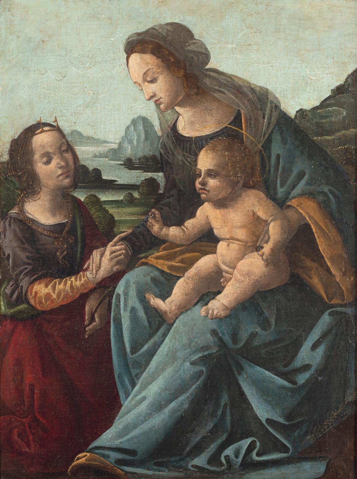 École florentine vers 1480, entourage d'Andrea del Verrochio, Le Mariage mystique de sainte Catherine, toile marouflée sur panneau, 60x4