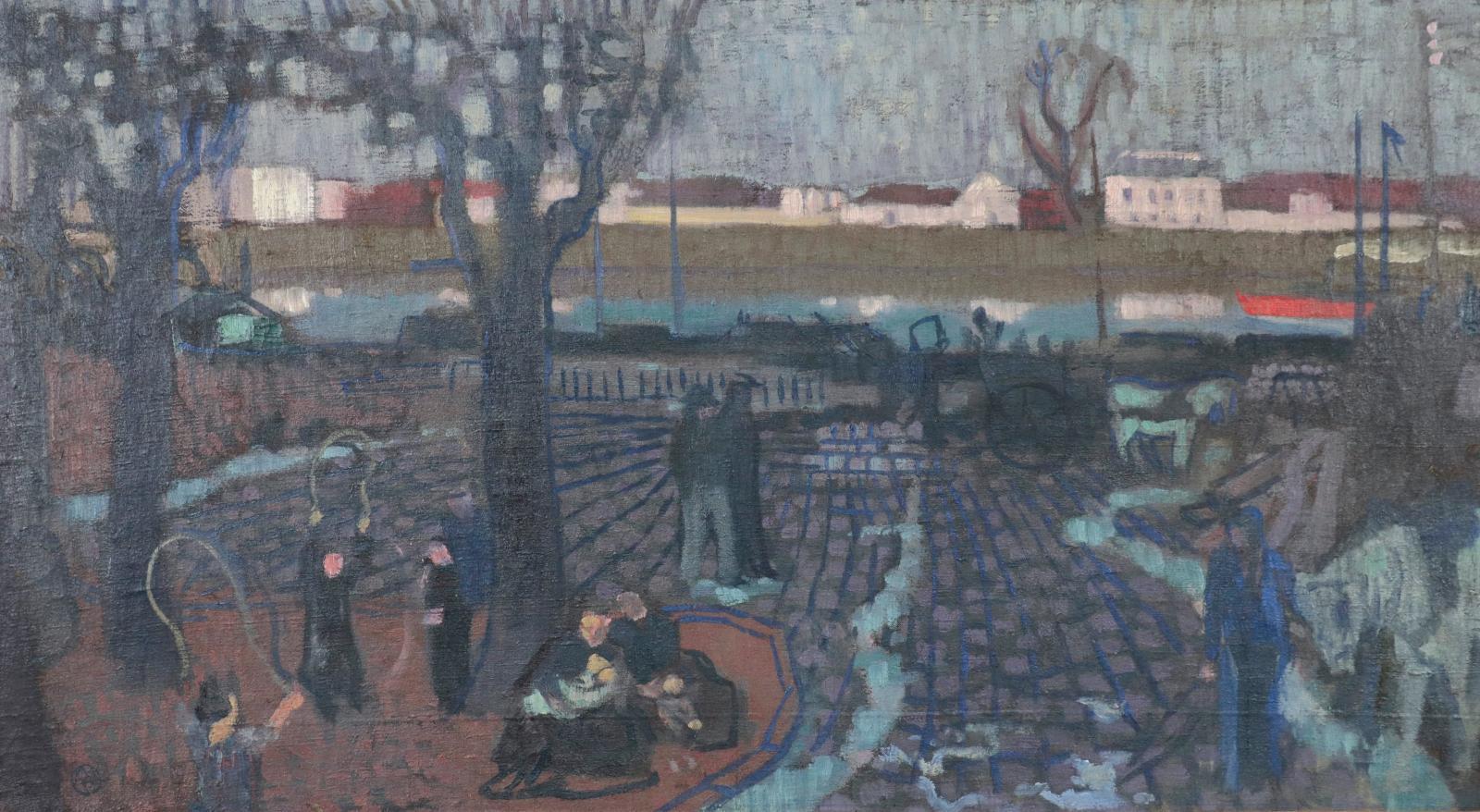 Maurice Denis (1870-1943), Port du Pecq, 1896,huile sur toile, cachet du monogramme de l'atelier, 48x87cm. Adjugé: 69540€