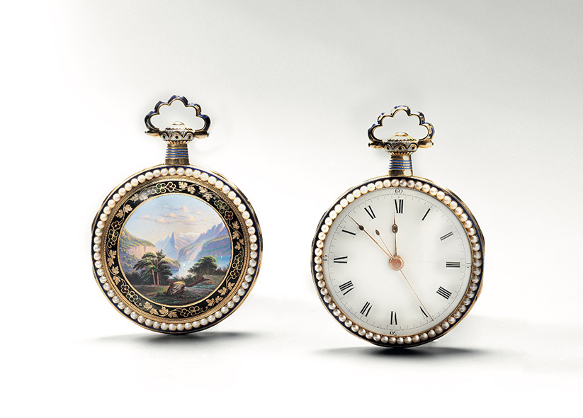 Williem Ilbery (1760-1839), enamelled gold watch made for the Chinese market, surround in half-pearls, with a mountain landscape decoratio
