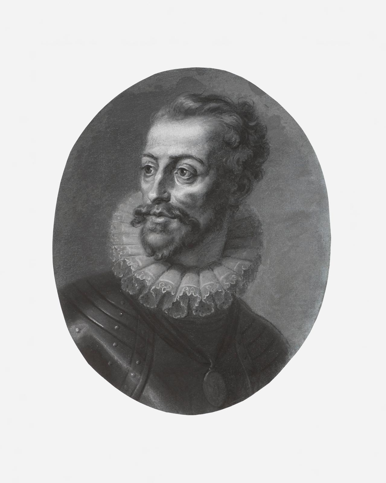 Louis Ier de Bourbon, Prince de Condé, attribué à Fragonard, décrit comme pastel blanc, gris et noir sur papier bleu, portant un filigrane