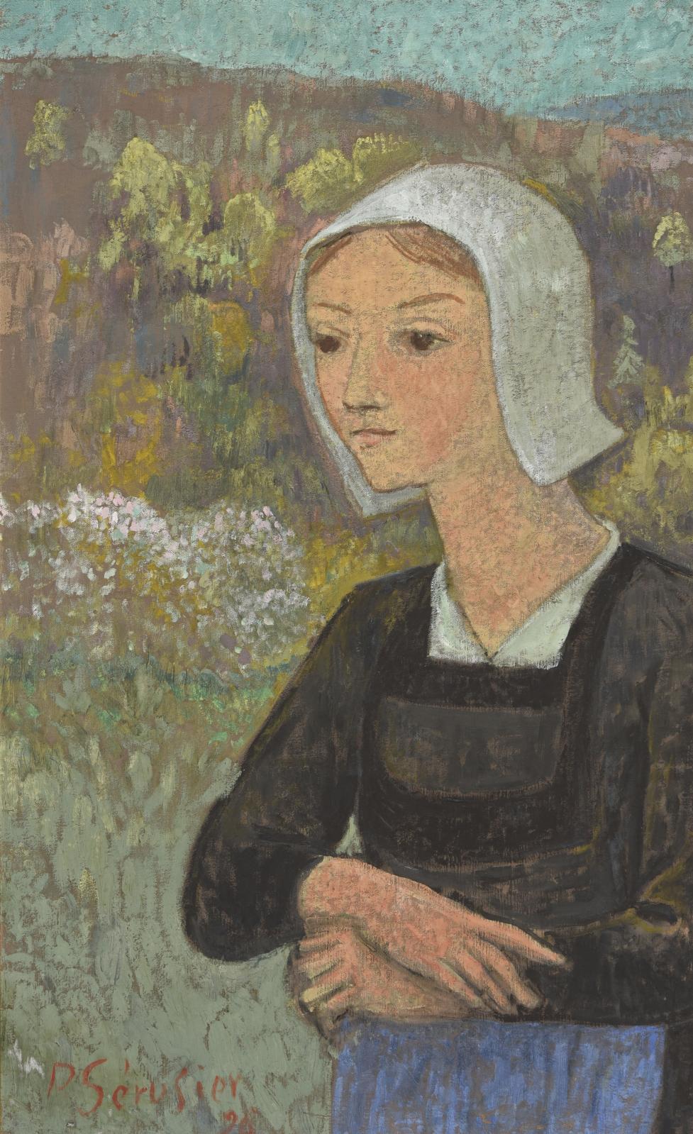 Paul Sérusier (1864-1927) trace ici le Portrait d'une jeune Bretonne à la coiffe (90x55cm) en 1926, une huile sur toile qui n'a pas rem
