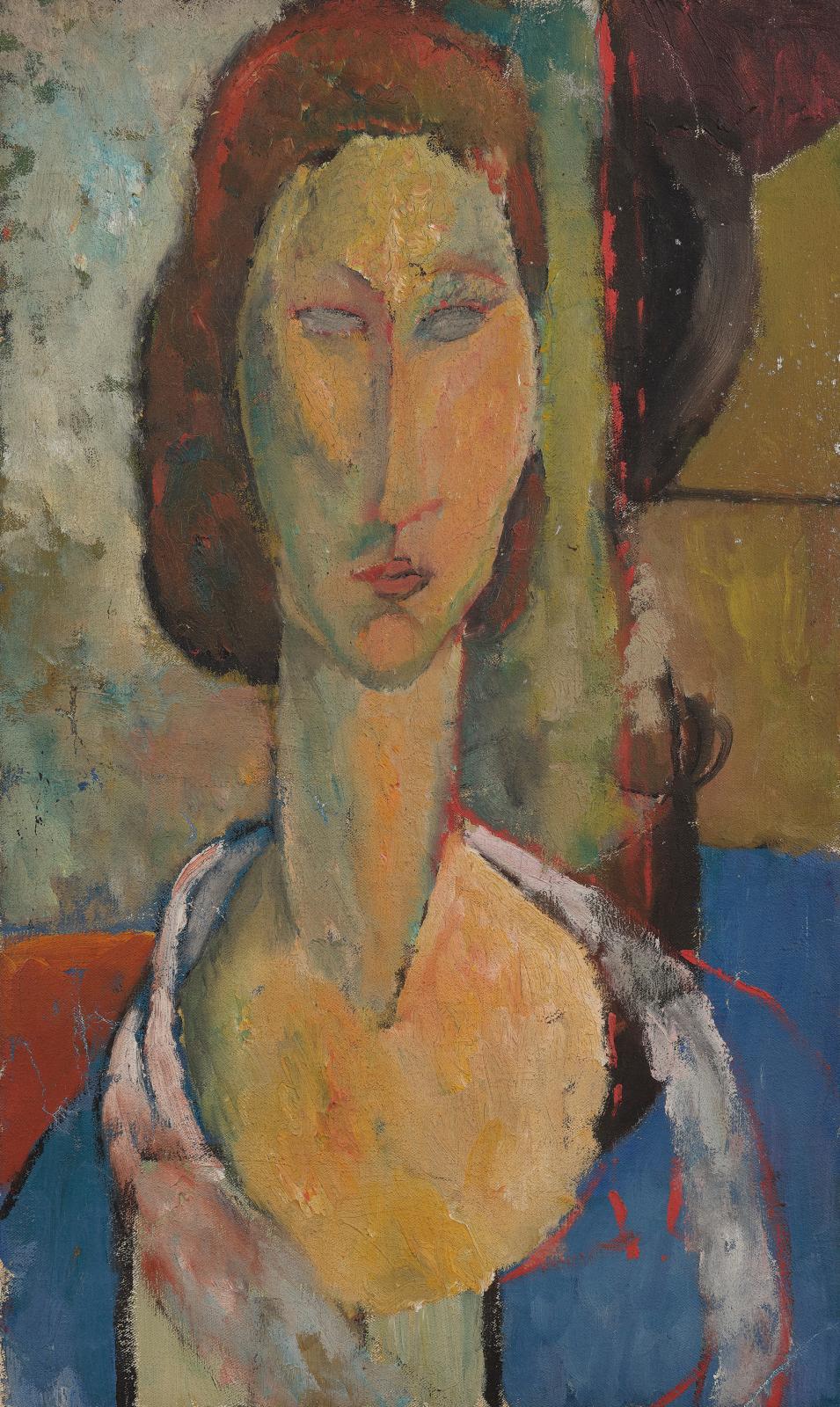 Jeanne Hébuterne (1898-1920), Selfportrait, oil on canvas, 55 x 33 cm (detail), 1.8 x 1 ft.Result: €188,500
