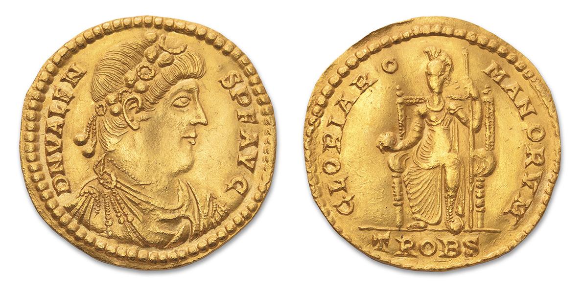 Trèves, 376-378, atelier Trobs. Médaillon de 4,5solidi en or, poids20g, diam.3,9cm. Adjugé: 201540€