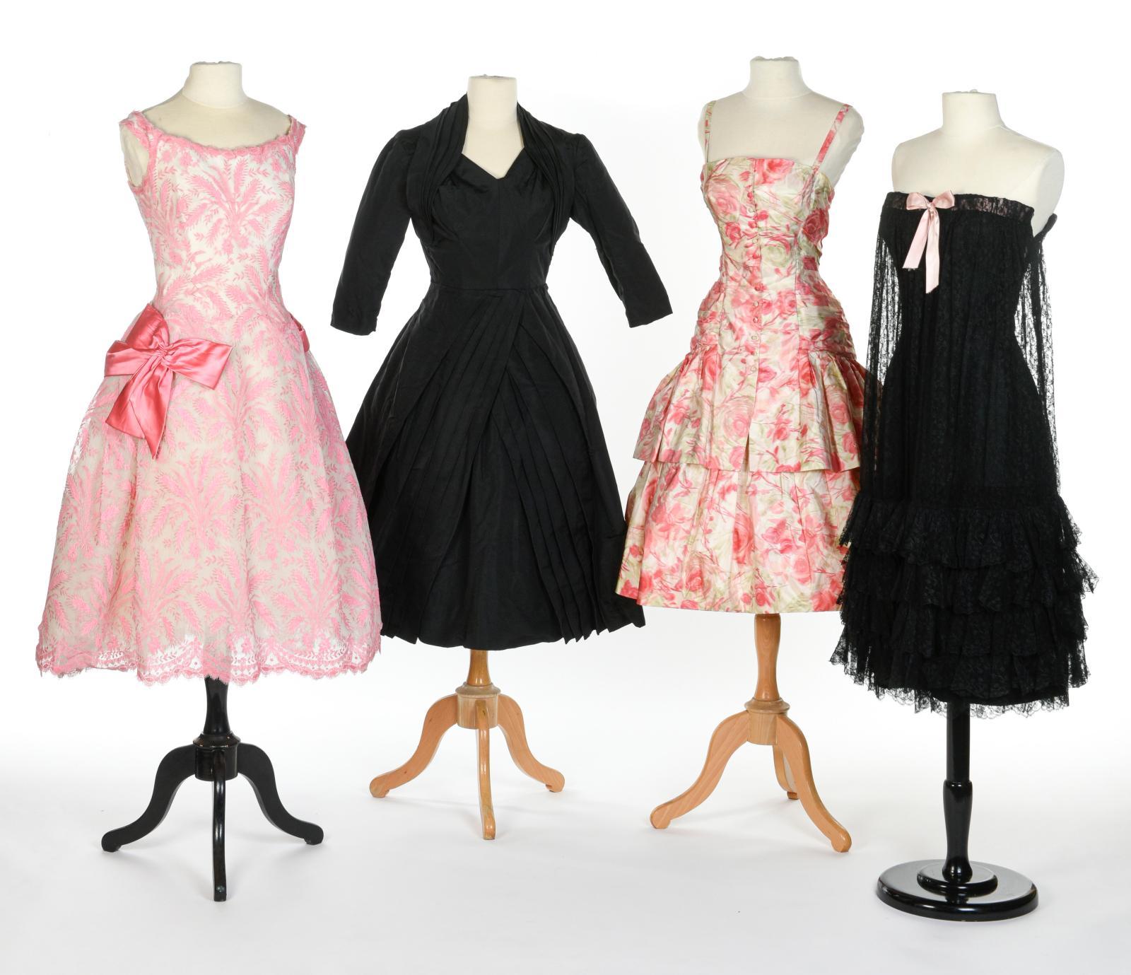 Four cocktail and evening dresses of 1950: Jacques Heim, Christian Dior, Carven, Balenciaga.Estimate: €800/1,200, €1,500/2,500, €1,000/1,