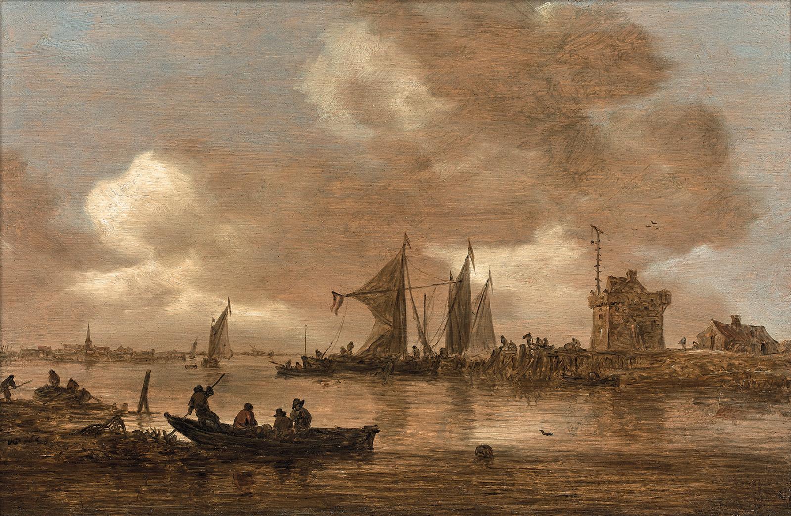 La peinture ancienne sera également présente à Cannes avec ce paysage maritime de Jan vanGoyen(1596-1656), montrant un Estuaire de riviè