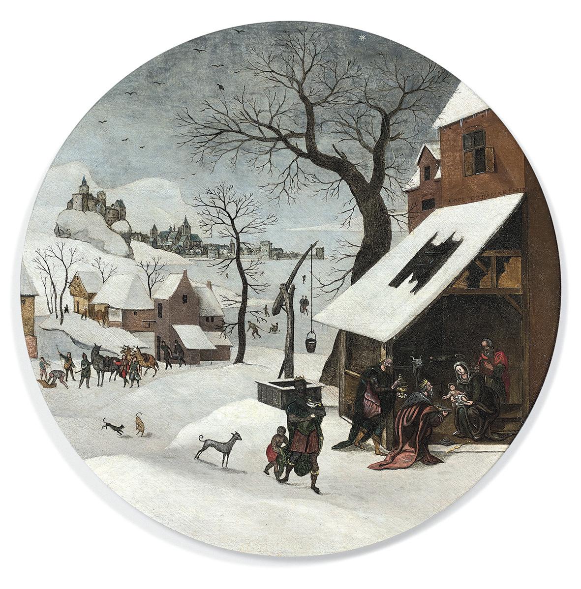 50000/60000€ seront à envisager pour emporter ce panneau circulaire d'Abel Grimmer(vers1570-av.1619) sur le thème de L'Adoration des