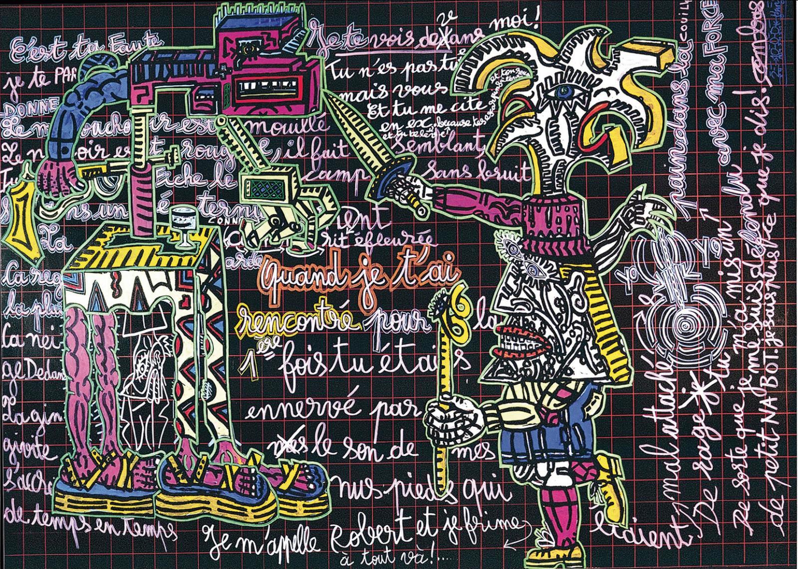 Voici une œuvre fourmillante et humoristique, comme nous y a habitués Robert Combas(né en1957). Daté de2002 et intitulé C'est ta faute,